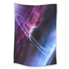 Space Pelanet Saturn Galaxy Large Tapestry