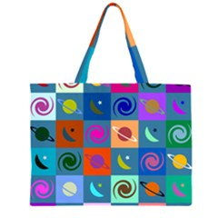 Space Month Saturnus Planet Star Hole Multicolor Large Tote Bag