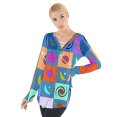 Space Month Saturnus Planet Star Hole Multicolor Women s Tie Up Tee