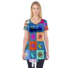 Space Month Saturnus Planet Star Hole Multicolor Short Sleeve Tunic