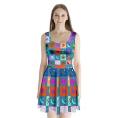 Space Month Saturnus Planet Star Hole Multicolor Split Back Mini Dress