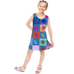 Space Month Saturnus Planet Star Hole Multicolor Kids  Tunic Dress
