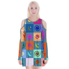 Space Month Saturnus Planet Star Hole Multicolor Velvet Long Sleeve Shoulder Cutout Dress