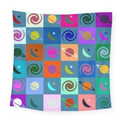 Space Month Saturnus Planet Star Hole Multicolor Square Tapestry (large)