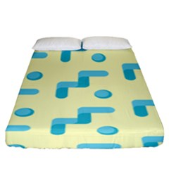 Squiggly Dot Pattern Blue Yellow Circle Fitted Sheet (king Size)