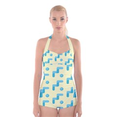 Squiggly Dot Pattern Blue Yellow Circle Boyleg Halter Swimsuit