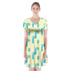 Squiggly Dot Pattern Blue Yellow Circle Short Sleeve V-neck Flare Dress