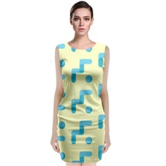 Squiggly Dot Pattern Blue Yellow Circle Classic Sleeveless Midi Dress