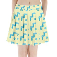 Squiggly Dot Pattern Blue Yellow Circle Pleated Mini Skirt