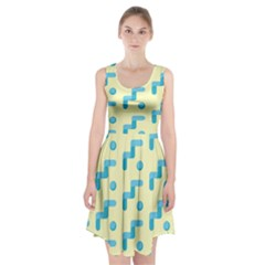Squiggly Dot Pattern Blue Yellow Circle Racerback Midi Dress