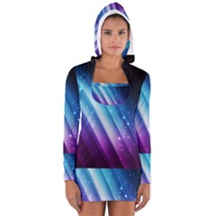 Space Purple Blue Women s Long Sleeve Hooded T-shirt