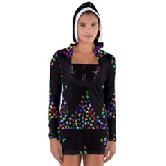 Space Butterflies Women s Long Sleeve Hooded T-shirt