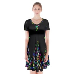Space Butterflies Short Sleeve V-neck Flare Dress