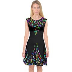 Space Butterflies Capsleeve Midi Dress