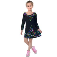 Space Butterflies Kids  Long Sleeve Velvet Dress