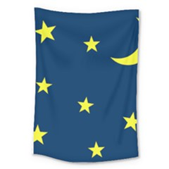 Star Moon Blue Sky Large Tapestry