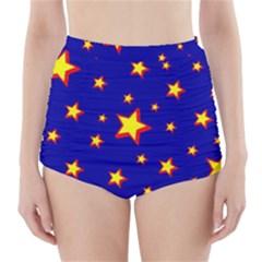 Star Blue Sky Yellow High-Waisted Bikini Bottoms