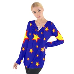 Star Blue Sky Yellow Women s Tie Up Tee
