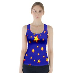 Star Blue Sky Yellow Racer Back Sports Top