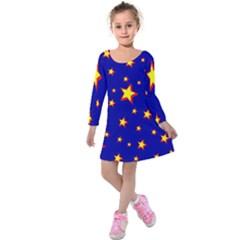 Star Blue Sky Yellow Kids  Long Sleeve Velvet Dress