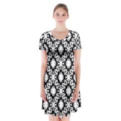 Star Flower Short Sleeve V-neck Flare Dress