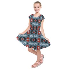 Star Wave Chevron Grey Gray Kids  Short Sleeve Dress