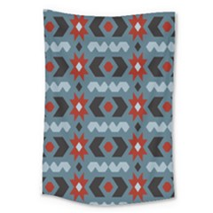 Star Wave Chevron Grey Gray Large Tapestry