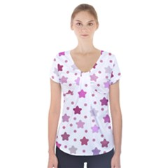Star Purple Short Sleeve Front Detail Top
