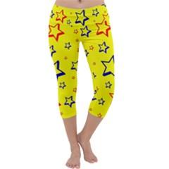 Star Yellow Red Blue Capri Yoga Leggings