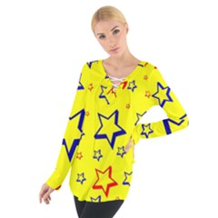 Star Yellow Red Blue Women s Tie Up Tee