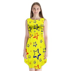 Star Yellow Red Blue Sleeveless Chiffon Dress