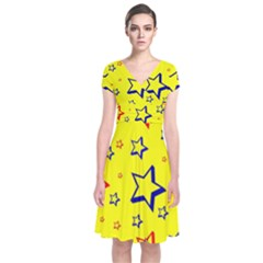Star Yellow Red Blue Short Sleeve Front Wrap Dress