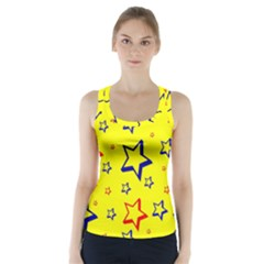 Star Yellow Red Blue Racer Back Sports Top