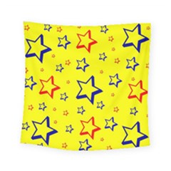 Star Yellow Red Blue Square Tapestry (small)