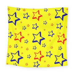 Star Yellow Red Blue Square Tapestry (large)