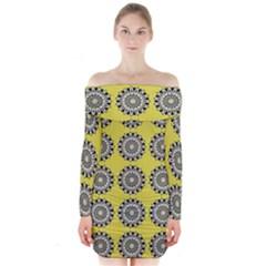Sunflower Long Sleeve Off Shoulder Dress