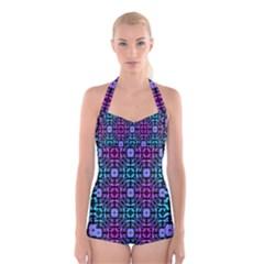 Star Flower Background Pattern Colour Boyleg Halter Swimsuit