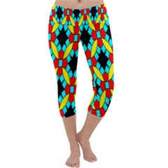 Tiling Flower Star Capri Yoga Leggings