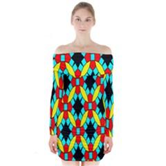 Tiling Flower Star Long Sleeve Off Shoulder Dress