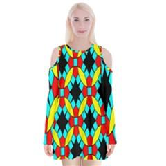 Tiling Flower Star Velvet Long Sleeve Shoulder Cutout Dress