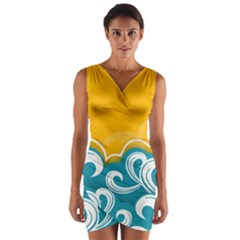 Summer Sea Water Wave Tree Yellow Blue Wrap Front Bodycon Dress