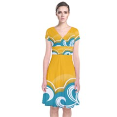 Summer Sea Water Wave Tree Yellow Blue Short Sleeve Front Wrap Dress