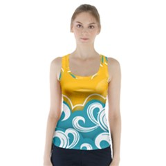 Summer Sea Water Wave Tree Yellow Blue Racer Back Sports Top