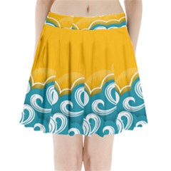 Summer Sea Water Wave Tree Yellow Blue Pleated Mini Skirt