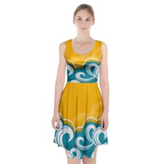 Summer Sea Water Wave Tree Yellow Blue Racerback Midi Dress