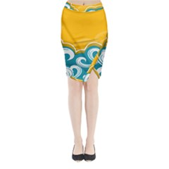 Summer Sea Water Wave Tree Yellow Blue Midi Wrap Pencil Skirt