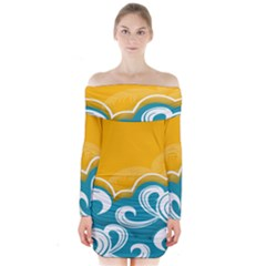 Summer Sea Water Wave Tree Yellow Blue Long Sleeve Off Shoulder Dress