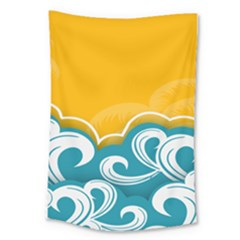 Summer Sea Water Wave Tree Yellow Blue Large Tapestry