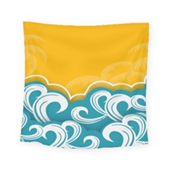 Summer Sea Water Wave Tree Yellow Blue Square Tapestry (small)