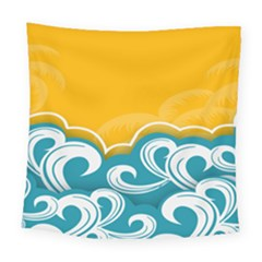 Summer Sea Water Wave Tree Yellow Blue Square Tapestry (large)